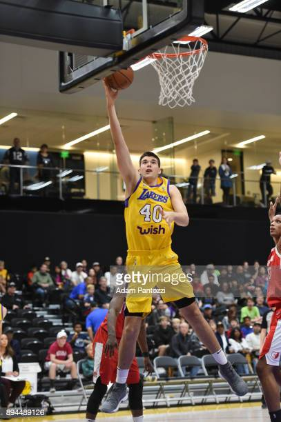 Ivica Zubac of the South Bay Lakers shoots the ball against the Memphis Hustle during an NBA GLeague game on December 17 2017 at UCLA Heath Training...