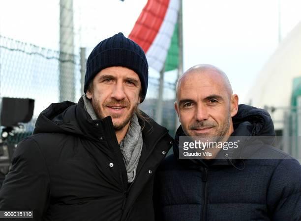 Iván de la Peña López and Carles Puyol attend the U17 International Friendly match between Italy and Spain at Juventus Center Vinovo on January 17...