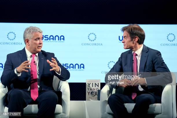 Iván Duque Márquez, President, Republic of Colombia and Dr. Mehmet Oz, Professor of Surgery, Columbia University speaks onstage during the 2021...