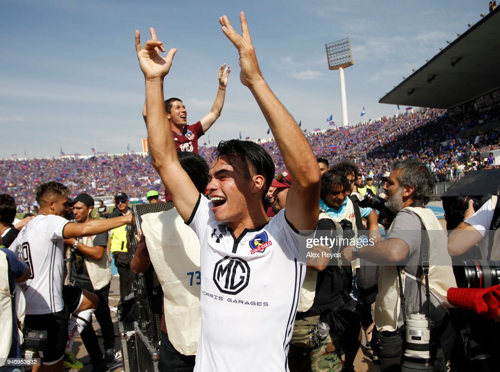 Iván Morales of Colo Colo celebrates after winning a match between U de Chile and Colo Colo as part of Torneo Scotiabank 2018 at Nacional Stadium of Chile on April 15, 2018 in Santiago, Chile.