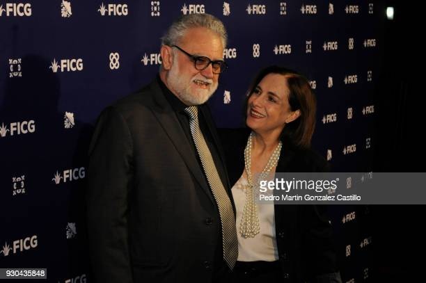 Iván Trujillo director of the Film Festival and actress Diana Bracho pose during the opening ceremony as part of Guadalajara International Film...