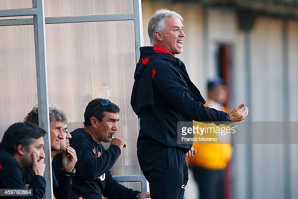 Ivo Basay head coach of Nublense shouts intructions to his players during a match between Nublense and Universidad de Chile as part of 16 round of...