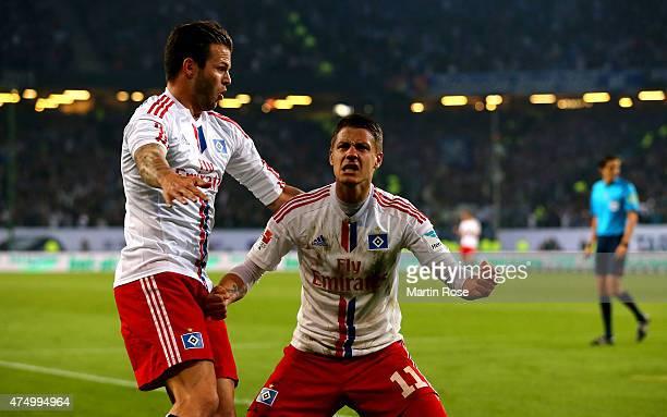 Ivo Ilicevic of Hamburg celebrates after scoring the equalizing goal during the Bundesliga first leg play off match between Hamburger SV and...