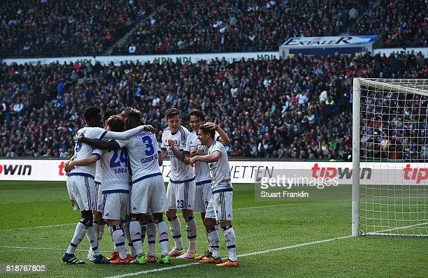 Ivo Ilicevic of Hamburg celebrates scoring his goal during the Bundesliga match between Hannover 96 and Hamburger SV at HDIArena on April 2 2016 in...