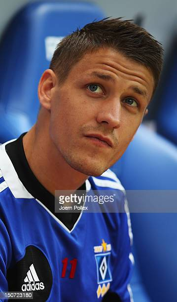 Ivo Ilicevic of Hamburg is seen on the bench prior to the Bundesliga match between Hamburger SV and 1 FC Nuernberg at Imtech Arena on August 25 2012...