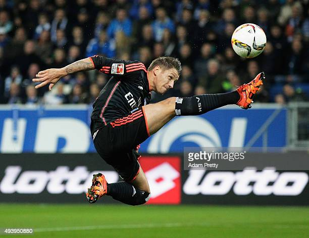 Ivo Ilicevic of Hamburger SV tries to control the ball into the goal during the Bundesliga match between 1899 Hoffenheim and Hamburger SV at Wirsol...