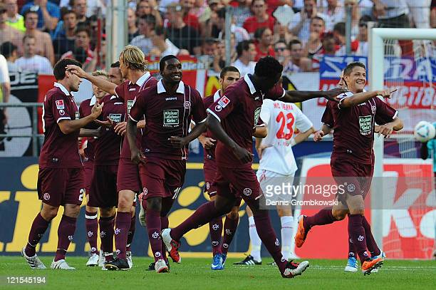 Ivo Ilicevic of Kaiserslautern celebrates after scoring his team's opening goal during the Bundesliga match between 1 FC Koeln and 1 FC...