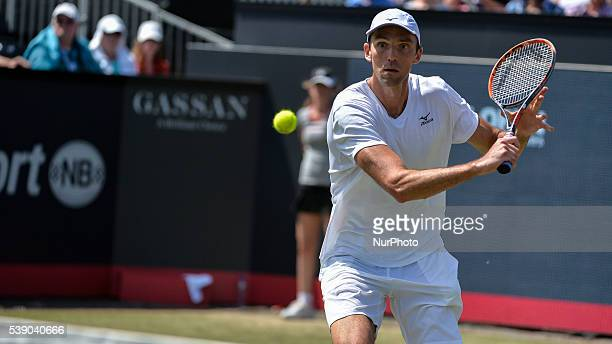 Ivo Karlovic backhand returns to Igor Sijsling on Thursday 9th of June 2016 at the Ricoh Open Grass Court Championships at the Autotron in Rosmalen...