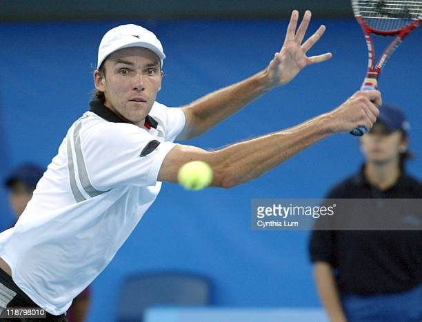 Ivo Karlovic in action against Carlos Moya in the third round of men's singles during the Athens 2004 Olympics Games at Goudi Olympic Hall in Athens,...
