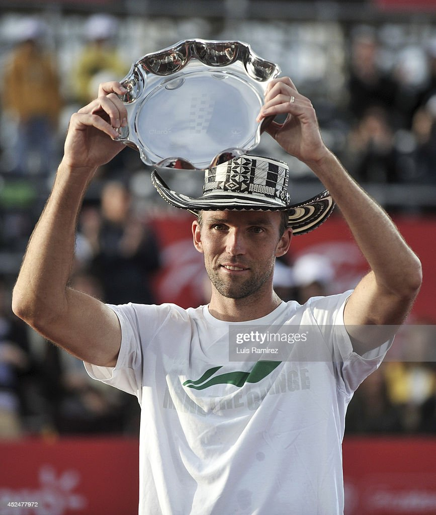 Ivo Karlovic of Coatia, raise the trophy after finishing second during a tennis match between Ivo Karlovic of Croatia and Bernard Tomic of Australia as part of ATP Claro Open Colombia Final on July 20, 2014 in Bogota, Colombia.