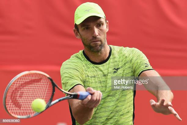 Ivo Karlovic of Coratia plays a forehand against Matthew Ebden of Australia during day two of the Rakuten Open at Ariake Coliseum on October 3 2017...