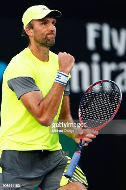 Ivo Karlovic of Croatia celebrates winning a point in his third round match against Andreas Seppi of Italy on day five of the 2018 Australian Open at...