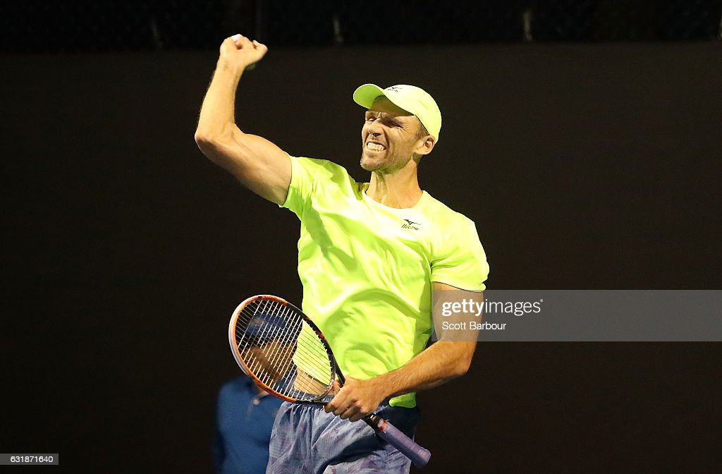 Ivo Karlovic of Croatia celebrates winning match point in his first round match against Horacio Zeballos of Argentina on day two of the 2017 Australian Open at Melbourne Park on January 17, 2017 in Melbourne, Australia. Karlovic and Horacio Zeballos produced the longest match in Australian Open history before the Croatian finally triumphed 6-7, 3-6, 7-5, 6-2, 22-20.