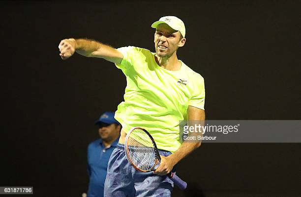 Ivo Karlovic of Croatia celebrates winning match point in his first round match against Horacio Zeballos of Argentina on day two of the 2017...