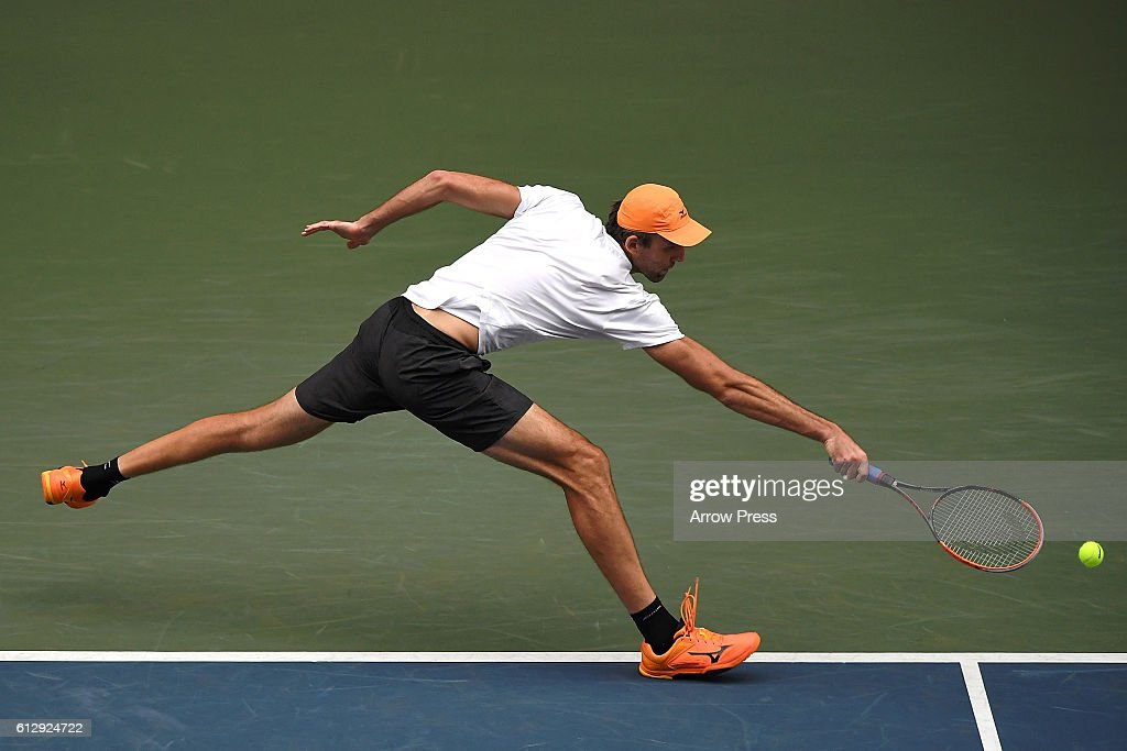 Ivo Karlovic of Croatia in action during the men's singles second round match against Janko Tipsarevic of Serbia on day four of Rakuten Open 2016 at Ariake Colosseum on October 6, 2016 in Tokyo, Japan.