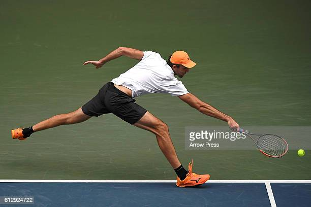 Ivo Karlovic of Croatia in action during the men's singles second round match against Janko Tipsarevic of Serbia on day four of Rakuten Open 2016 at...