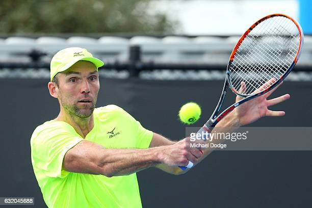 Ivo Karlovic of Croatia plays a backhand in his second round match against Andrew Whittington of Australia on day four of the 2017 Australian Open at...