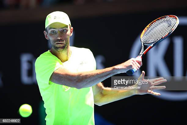 Ivo Karlovic of Croatia plays a backhand in his third round match against David Goffin of Belgium on day six of the 2017 Australian Open at Melbourne...