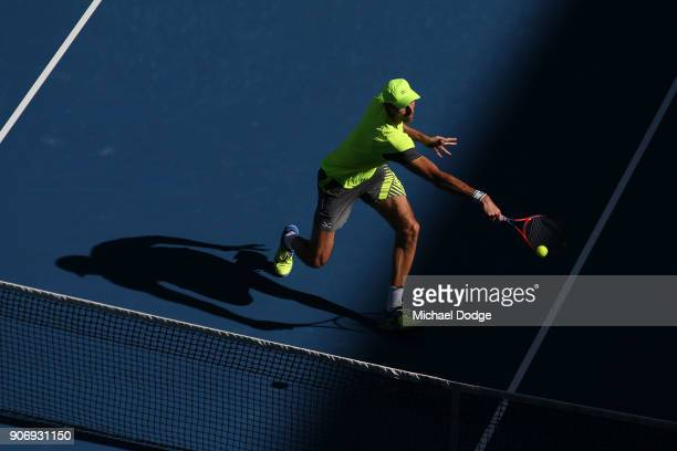 Ivo Karlovic of Croatia plays a backhand in his third round match against Andreas Seppi of Italy on day five of the 2018 Australian Open at Melbourne...