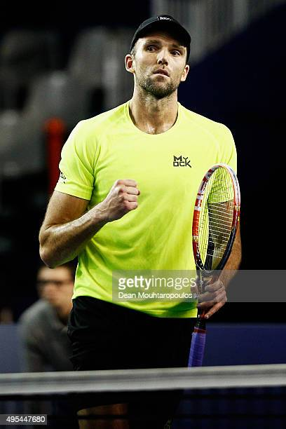 Ivo Karlovic of Croatia reacts after a won point against Edouard RogerVasselin of France during Day 2 of the BNP Paribas Masters held at AccorHotels...