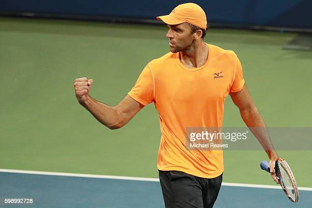 Ivo Karlovic of Croatia reacts during his third round Men's Singles match against Jared Donaldson of the United States on Day Six of the 2016 US Open...