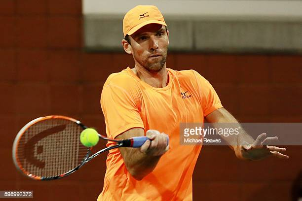 Ivo Karlovic of Croatia returns a shot to Jared Donaldson of the United States during his third round Men's Singles match on Day Six of the 2016 US...