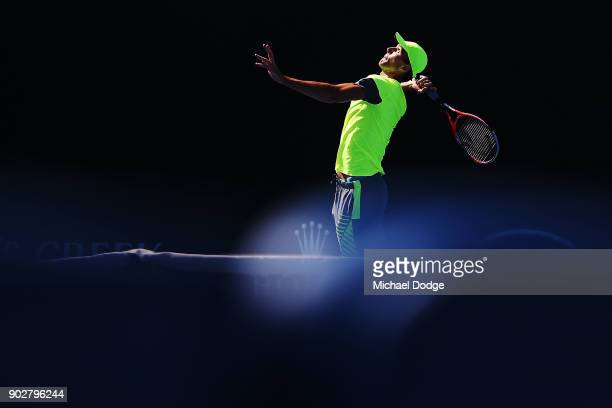 Ivo Karlovic of Croatia serves during a practice session ahead of the 2018 Australian Open at Melbourne Park on January 9 2018 in Melbourne Australia