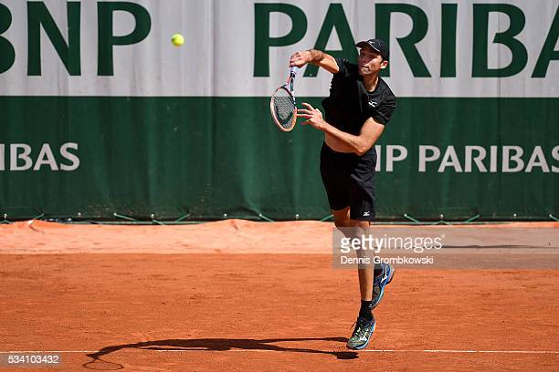 Ivo Karlovic of Croatia serves during the Men's Singles second round match against Jordan Thompson of Australia at Roland Garros on May 25 2016 in...