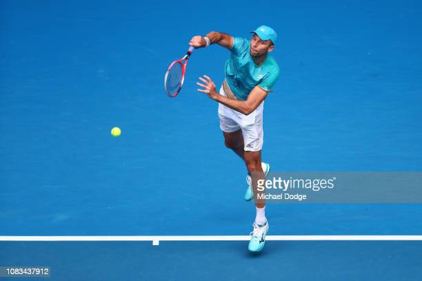 Ivo Karlovic of Croatia serves in his second round match against Kei Nishikori of Japan during day four of the 2019 Australian Open at Melbourne Park...