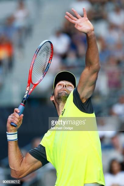 Ivo Karlovic of Croatia serves in his third round match against Andreas Seppi of Italy on day five of the 2018 Australian Open at Melbourne Park on...