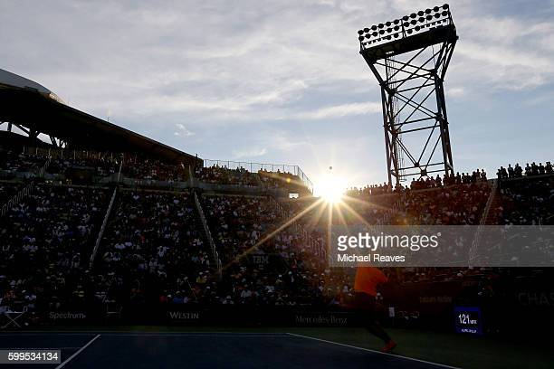 Ivo Karlovic of Croatia serves to Kei Nishikori of Japan during his fourth round Men's Singles match on Day Eight of the 2016 US Open at the USTA...