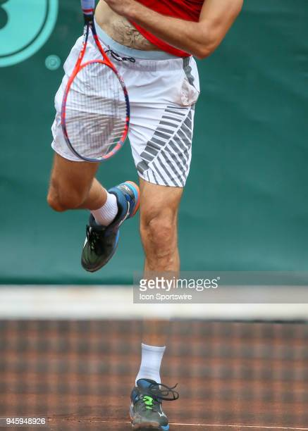 Ivo Karlovic of Croatia warms up in the match against Nick Kyrgios of Australia during the Quarterfinal round of the Men's Clay Court Championship on...