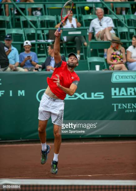 Ivo Karlovic of Croatia watches his serve in the match against Nick Kyrgios of Australia during the Quarterfinal round of the Men's Clay Court...