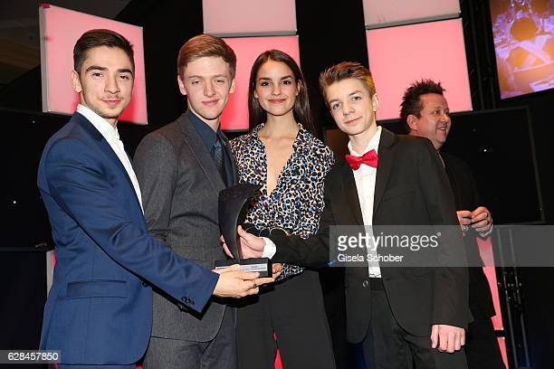 Ivo Kortland, Timur Bartels, Luise Befort and Nick Julius Schuck with award , Club der roten Baender , during the 10th Audi Generation Award 2016 at...