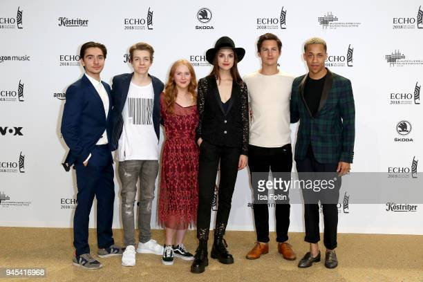 Ivo Kortlang Nick Julius Schuck guest Luise Befort Tim Oliver Schultz and guest arrive for the Echo Award at Messe Berlin on April 12 2018 in Berlin...