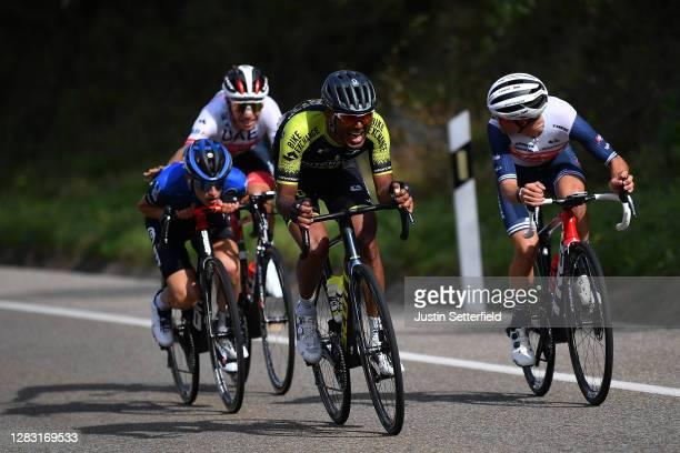 Ivo Oliveira of Portugal and UAE Team Emirates / Gino Mader of Switzerland and NTT Pro Cycling Team / Tsgabu Gebremaryam Grmay of Ethiopia and Team...