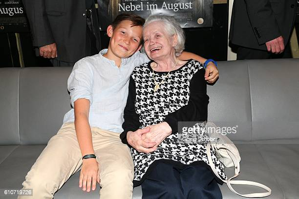 Ivo Pietzcker and Amalie Speidl sister of Ernst Lossa during the premiere of the film 'Nebel im August' at City Kino on September 27 2016 in Munich...