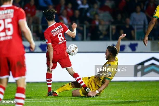 Ivo Rodrigues forward of Antwerp FC and Michael Heylen defender of SV Zulte Waregem red card fout pictured during the Jupiler Pro League match...