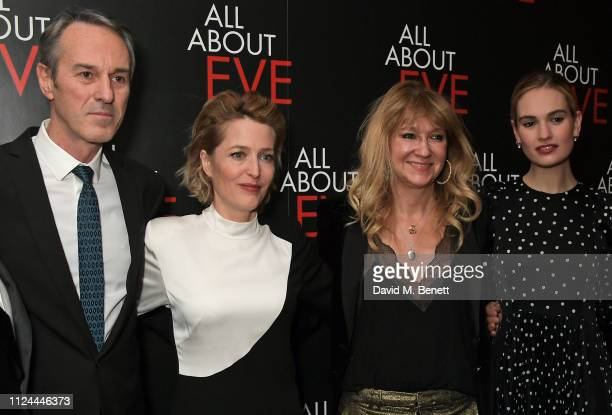 Ivo van Hove Gillian Anderson Sonia Friedman and Lily James attend the press night after party for 'All About Eve' at The Waldorf Hilton on February...