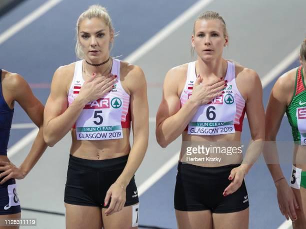 Ivona Dadic of Austria and Verena Preiner of Austria compete in the 800m event of the women's pentathlon on March 1 2019 in Glasgow United Kingdom