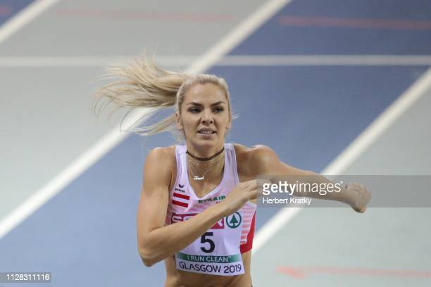 Ivona Dadic of Austria competes in the 800m event of the women's pentathlon on March 1 2019 in Glasgow United Kingdom