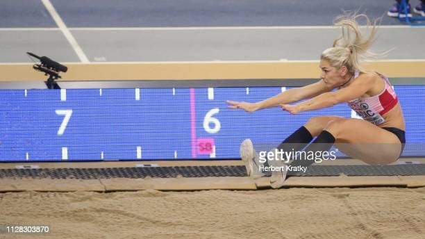 Ivona Dadic of Austria competes in the high jump event of the women's pentathlon on March 1 2019 in Glasgow United Kingdom