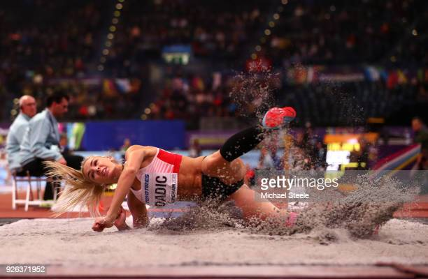 Ivona Dadic of Austria competes in the Long Jump Womens Pentathlon during the IAAF World Indoor Championships on Day Two at Arena Birmingham on March...