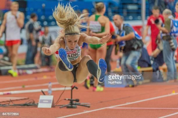 Ivona DadicAustria at long jump during Pentathlon for women at European athletics indoor championships in Belgrade on March 3 2017