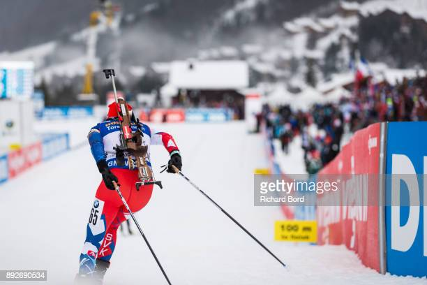 Ivona Fialkova of Slovakia performs during the IBU Biathlon World Cup Women's Sprint on December 14, 2017 in Le Grand Bornand, France.