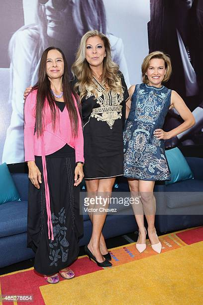 Ivonne Guevara Mimi and Ilse Maria of Flans attend a press conference to announce their 30th anniversary and new tour at Auditorio Nacional on August...