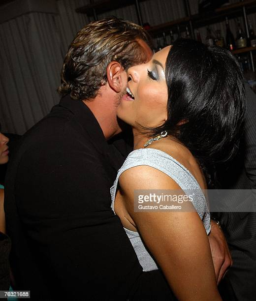Ivonne Montero and Gabriel Soto dance at the after party for the film 'Ladron A Roba Que Ladron' at Prive Nightclub August 24 2007 in Miami Beach...