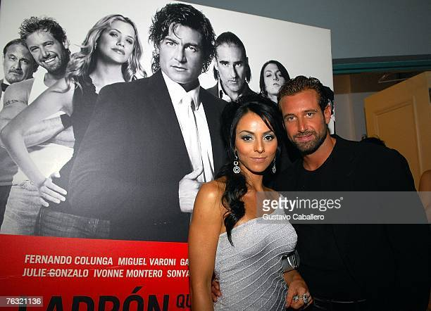 Ivonne Montero and Gabriel Soto pose at the premiere of Ladron A Roba Que Ladron at the Colony Theater on August 24 2007 in Miami Beach Florida