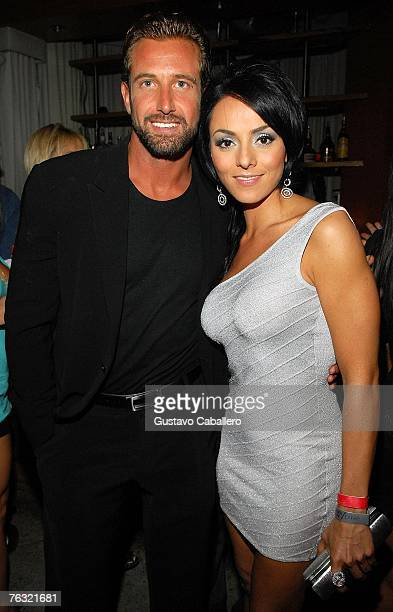 Ivonne Montero and Gabriel Soto poses at the after party for the film Ladron A Roba Que Ladron at Prive Nightclub August 24 2007 in Miami Beach...