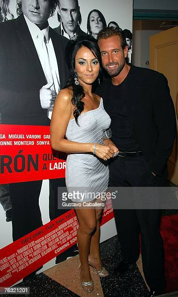 Ivonne Montero and Gabriel Soto poses at the premiere of Ladron A Roba Que Ladron at the Colony Theater on August 24 2007 in Miami Beach Florida